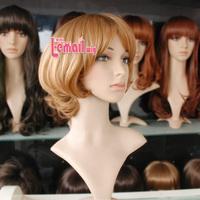 Free Shipping 30cm Fashion Big Wavy Curly Synthetic Hair Women Short Blonde Wig