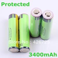 Free shipping 4PCS/lot18650 3400mah 3.7V li-ion rechargebale battery /18650 battery 3400mah protected for Panasonic