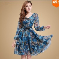 !!Plus Size Women Clothing Dresses New Fashion 2014 Autumn -Summer Casual Dress Print Dress Knee-Length Chiffon Dress Sale Items
