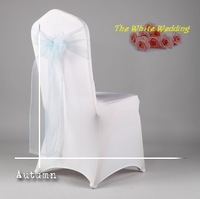 100 Baby Blue Disposable chair covers sash for weddings Organza Chair Sashes for Wedding Sashes for Chairs