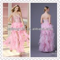 Adorable Floor Length Overlay Straight Sweetheart Neckline Beaded Bodice Pink Ruffled Organza Sexy Dress