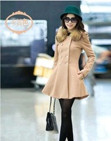 2013 new woolen coat winter's fleece collar double breasted significantly thin wool coat