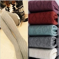 100% cotton rhombus thick yarn knitted thickening pantyhose autumn and winter legging socks cutout