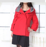 2013 New Women's Pure Color  Stylish Plaid Hooded Short Pattern CoatRed(With Size)