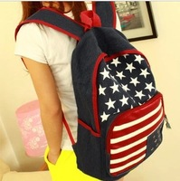 TOP Fashion  High Quality  The American flag rivet Canvas  backpack Hot Selling in America  College