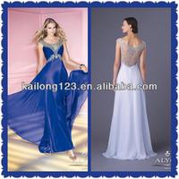 Avant-garde Floor Length Straight Cap Sleeve Scoop Neckline Beaded Bodice Royal Blue White Chiffon Dress Women