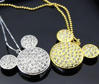 Free Shipping Silver Diamond Jewelry Mickey Head 2GB/4GB/8GB/16GB/32GB USB 2.0 Flash Memory Stick U Disk F-H041