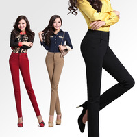 2013 pencil pants female slim all-match high waist female long trousers plus size