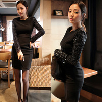 Princess d 2013 autumn new arrival women's paillette o-neck long-sleeve slim basic 3611 one-piece dress  1