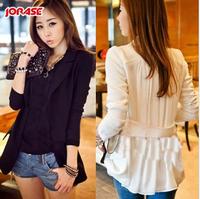 2013 autumn slim long design one button blazer patchwork chiffon top outerwear 041 Free shipping Woman jacket
