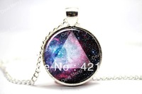10pcs/lot Galaxy Triangle Necklace, Hipster Nebula Jewelry, Universe Pendant Glass Cabochon Necklace 2