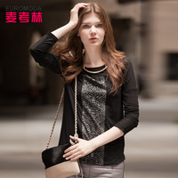 Mecox LANE women's 2013 autumn idole europe style serpentine pattern juxtaposition t-shirt female