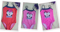 one piece cute lace swim suit hello costume kitty baby girl beachwear children princess cheap free shipping  gzlt