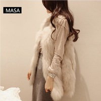 2013 women's elegant luxury medium-long fur vest outerwear overcoat female