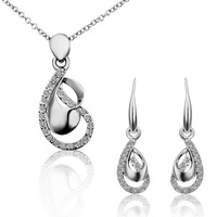 High-grade alloy jewelry set 18 k platinum set auger adorn article factory foreign trade necklace earrings N:45+5CM E:3.3X1.0CM