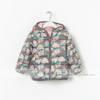 Free shipping 2013 winter baby coat ,girl coat  ,Reversible hooded coat flowers