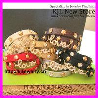12pcs Very Soft Leather Bracelet, Three wrap adjust Bracelets, Rhinestone Leather LOVE Word bracelet