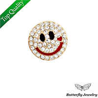 Hot Selling,Top quality Alloy Shiny Crystal Smiley Face Brooch Unisex,Suit Collar Pins For Men/Women
