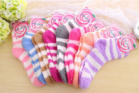 Multicolour candy color stripe thickening towel socks thermal floor socks female autumn and winter