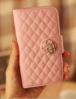Brand Flip Wallet Card Bling Crystals Rose Magnetic Leather Cases Cover For Samsung Galaxy S3 S4 Mini I8190 I9190 Handbags N352