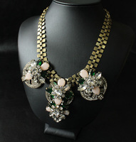 Free  shipping  J-C-J/  Pink glass crystal flowers short necklace