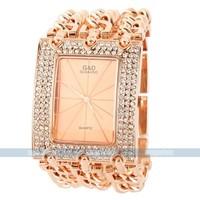 Elegant Luxury Rose Golden Stainless Steel Bracelet Bangle quartz designer watch for free shipping