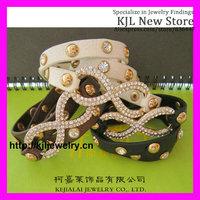 12pcs Mixed 3 color,Shamballa Bracelets Micro Pave CZ Disco Figure Eight shape wrap infinity leather Bracelets