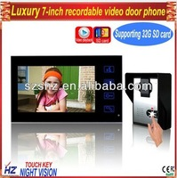 "Upgraded version 7""TFT-LCD touch key wired color recordable video intercom system with door release for business"