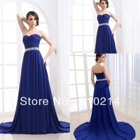 New Arrival 2013 Collection Strapless Floor Length Royal Blue Evening Prom Dresses Beaded Chiffon A-line Party Formal Gowns