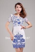 Runway Fashion Wholesale & Retail Women's round neck short sleeve mesh sleeve Slim dress embroidered retro KC203 Free shipping