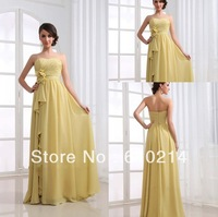 Free Shipping 2013 Retail Prom Dresses Strapless A-line Chiffon Designer Formal Evening Gowns