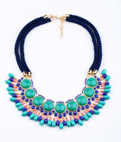 free shipping 2013 blue rope woven necklace blue big gem pendant choker statement necklace length 66cm