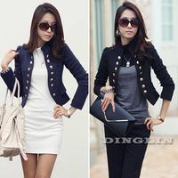 2014 New Korean Fashion Women Long Sleeve Button Slim Peplum Cropped OL Casual Small Jacket Cardigan 5 Colors Free Shipping 1076