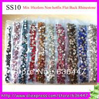 14400PCS 2.7-2.9mm nail art flat back crystals rhinestone wholesale shiny Special colors SS10 clear rhinestone