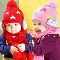 2014 New owl princess hats wool children cap baby winter hat perimeter set free shipping MZ06