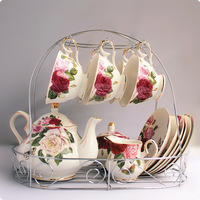 Fashion tea set coffee cup set 15 butterflies afternoon tea high quality new arrival rack