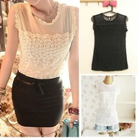 2014 TOP SALE Free Shipping  CHIC WOMENS CREW NECK SLEEVELESS MESH TOP W4034