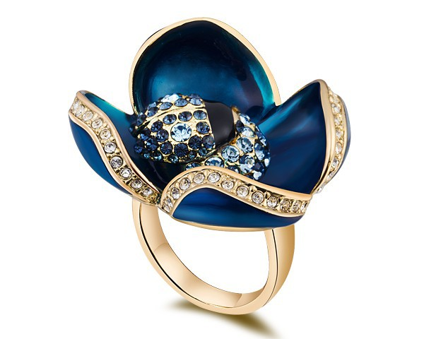 Crystal & Blue Wacke Flower Finger Ring Party Cocktail Exaggerated Jewelry Rose Gold Plated Lover Wife Girlfriend Christmas Gift(China (Mainland))