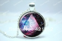 10pcs/lot Galaxy Triangle Necklace, Hipster Nebula Jewelry, Universe Pendant Glass Cabochon Necklace