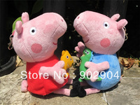 Wholesale - Peppa pig toy George pig baby toys movie plush toys 19cm children pink pig dolls hot selling free EMS 50pcs