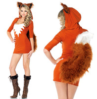 2013 New HOt Selling Women's Halloween Costumes Cutesy Orange little fox Sexy Cosplay Party Clothing