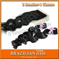 "5A Virgin Brazilian Human Hair For Sale Loose Wave 2 Bundles With 1 Lace Closure 8""-28"" Mixed 3pcs Lot Natural Black Bleach Knot"