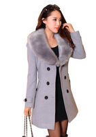 6 Colors L ~ 4XL Free Shipping Luxury Women's Wool Faux Fur Trench Parka Double-Breasted Winter Coat Blends Coat Plus Size