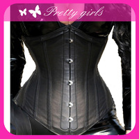 Free shipping,  Charming Black Sexy Leather Corset Wear , corset+G-string, size s,m, l, xl