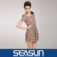 Free Shipping 2013 Bargain HOT SALE Women Spring Summer Fashion Animal Print Vintage Mini Dress cat print cotton all-match