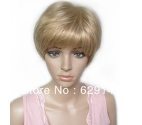 Hot sale new style women's short  Hair Wig gift blond hair  human hair wig free shipping