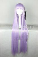 Free shipping 100cm Dangan Ronpa Kyouko Kirigiri Cosplay Wig with Braid Light Purple