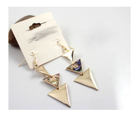famous brands women's triangle exaggerated Drop Earrings jewelry sexy colorful gold silver plated high quality fashion designer