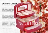 Free shipping Birthday princess fashion wedding gift jewelry box earrings necklaces automatic leather jewelry box gift box.