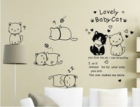 Lovely Cat wall stickers,Sofa TV Background Wall Sticker,Free Shipping